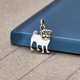 Sterling Silver Pug Dog Charm