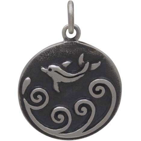 Sterling Silver Dolphin Charm with Waves