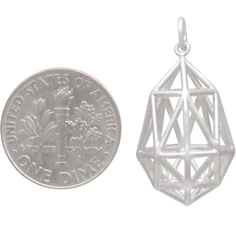 Sterling Silver 3D Geometric Teardrop Pendant