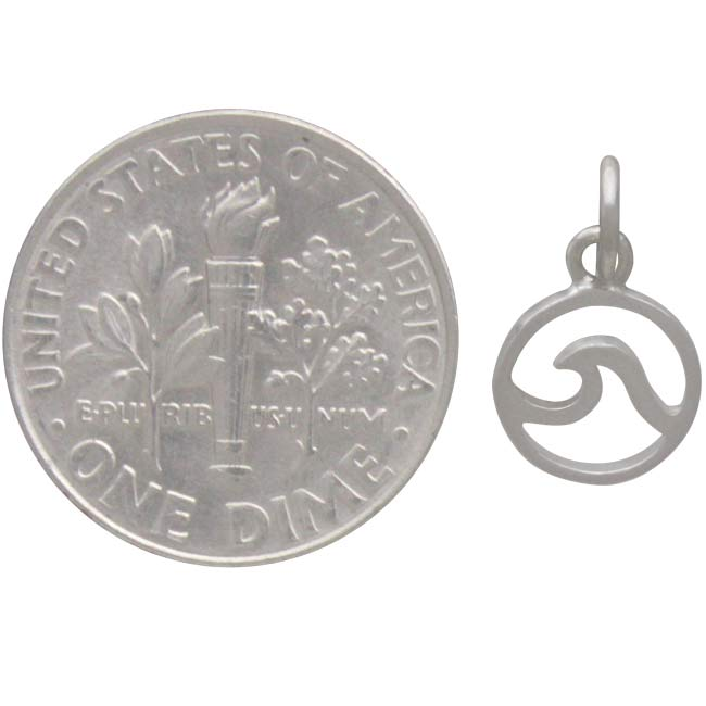 Sterling Silver Mini Openwork Wave Charm -14mm