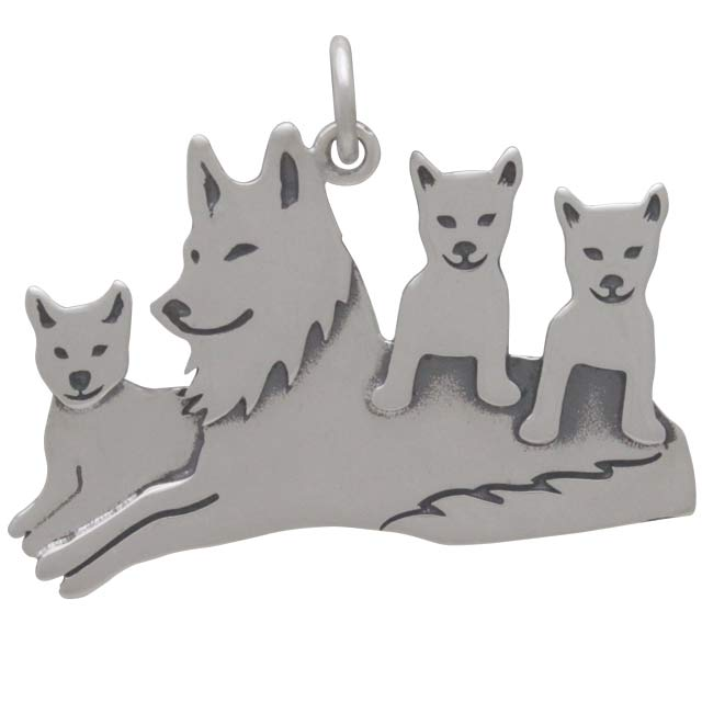 Sterling Silver Mama Wolf Pendant with Three Pups