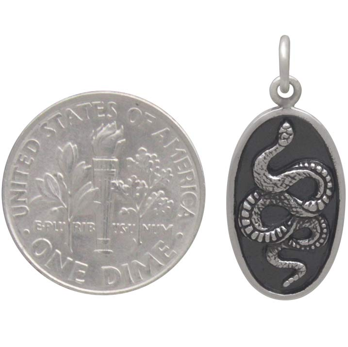 Sterling Silver Snake Pendant on Oval Disk