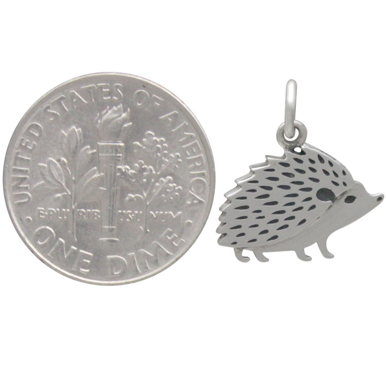 Sterling Silver Hedgehog Charm 16x14mm