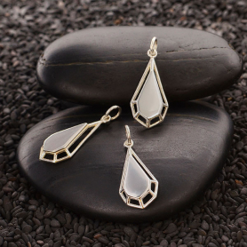 Sterling Silver Teardrop Charm with Wire Platform 25x10mm