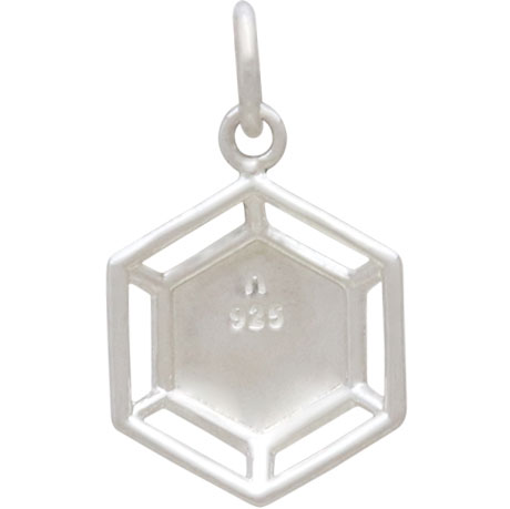 Sterling Silver Hexagon Charm with Wire Platform 19x11mm