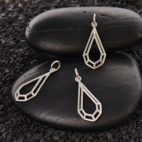 Sterling Silver Geometric Wire Teardrop Charm 25x10mm