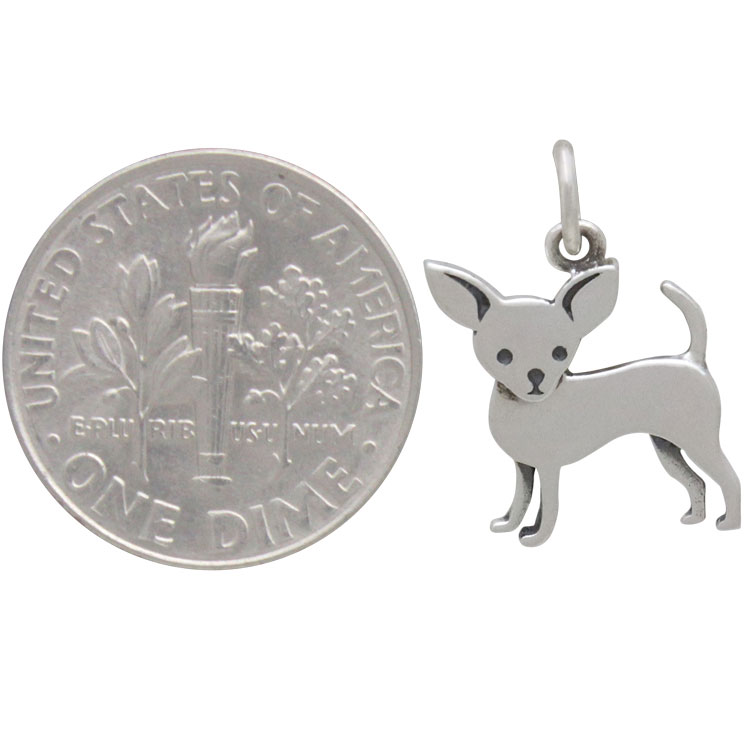 Sterling Silver Chihuahua Dog Charm 18x12mm