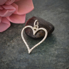 Sterling Silver Hammered Wire Heart Charm 22x16mm