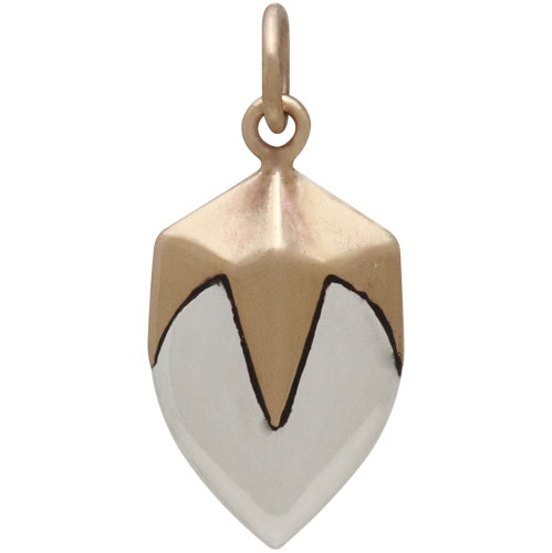 Sterling Silver Lotus Bud Charm with Bronze Claw Cap 23x10mm