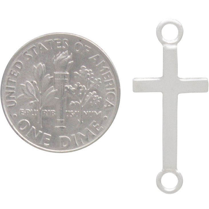 Sterling Silver Cross Link with Large Loops 27x11mm