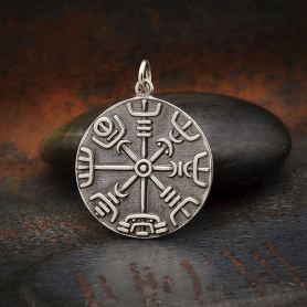 Sterling Silver Viking Compass Pendant 27x21mm