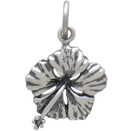 Sterling Silver Hibiscus Charm 19x12mm