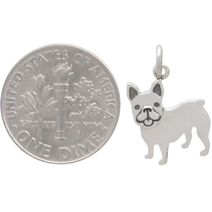 Sterling Silver French Bulldog Dog Charm 19x12mm