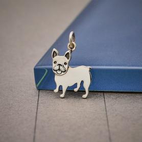 Sterling Silver French Bulldog Dog Charm 19x12mm