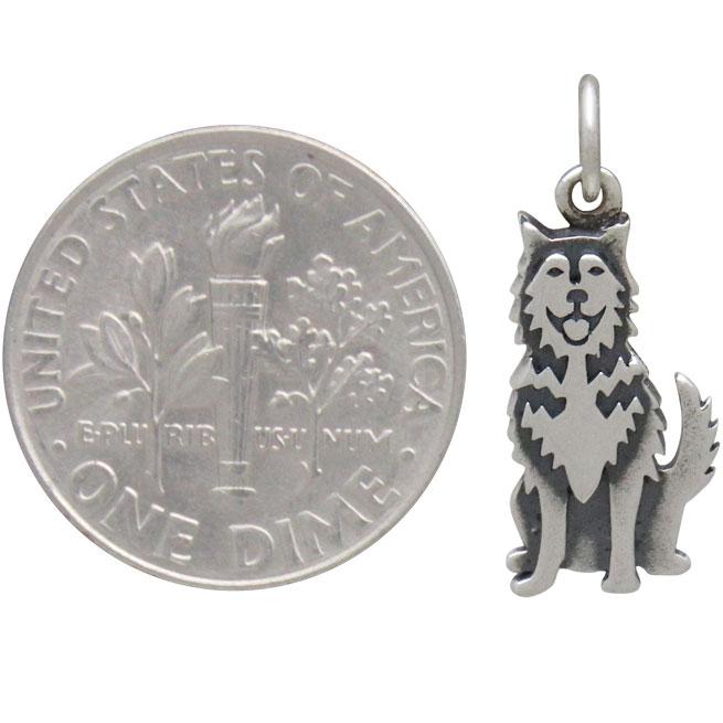 Sterling Silver Husky Dog Charm 21x8mm