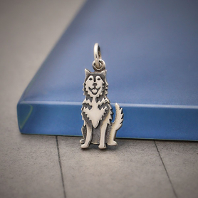 Sterling Silver Husky Dog Charm 21x8mm