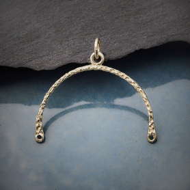 Sterling Silver Hammered Arch Link with Center Loop 26x26mm
