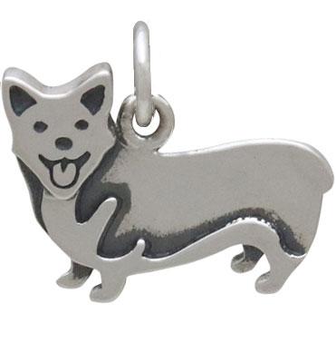 Sterling Silver Corgi Dog Charm 14x16mm