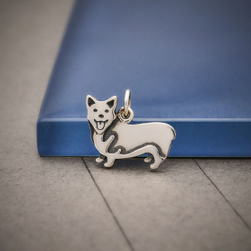 Sterling Silver Corgi Dog Charm 14x16mm