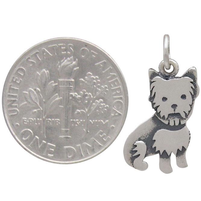 Sterling Silver Yorkie Dog Charm 20x10mm