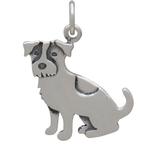 Sterling Silver Jack Russell Terrier Dog Charm 20x15mm