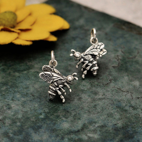 Sterling Silver Realistic Bee Charm 17x12mm