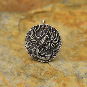 Sterling Silver Ancient Coin Charm -Phoenix 22x20mm