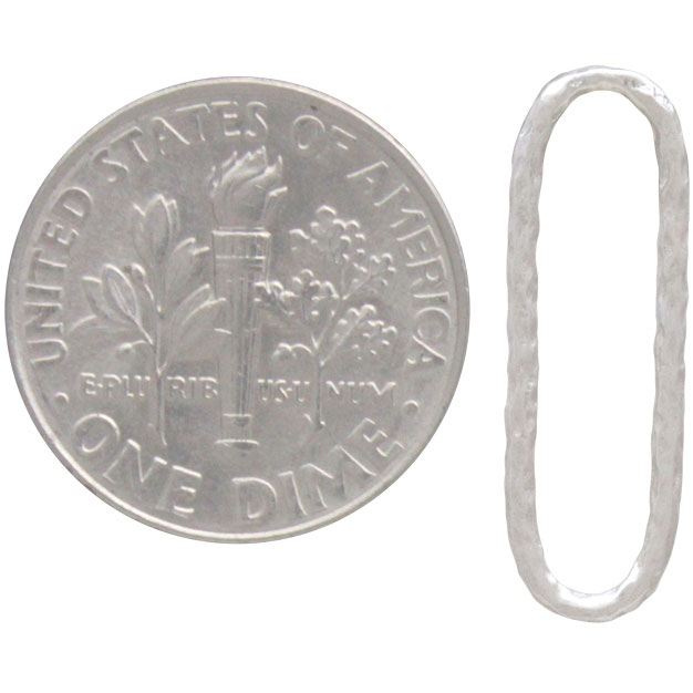 Sterling Silver Oval Link with Hammered Texture 21x7mm