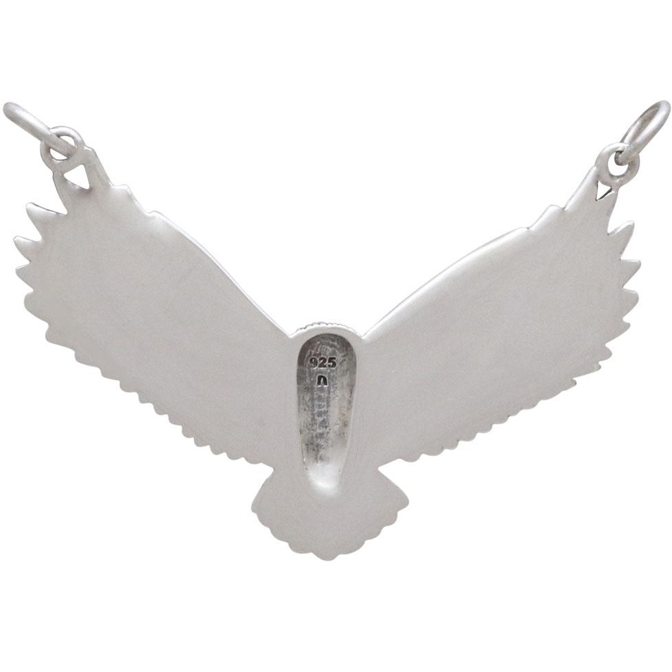 Sterling Silver Flying Owl Pendant Festoon 31x40mm