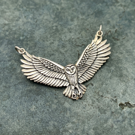 Sterling Silver Flying Owl Pendant Festoon 31x40mm