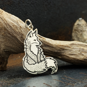 Sterling Silver Fox Charm 33x18mm