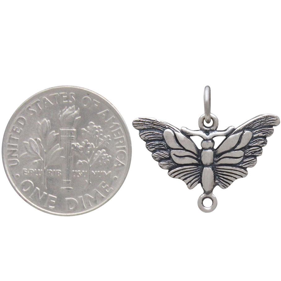 Sterling Silver Butterfly Moth Link 18x20mm