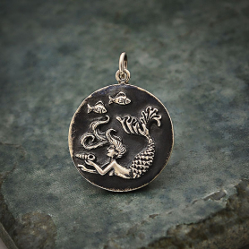 Sterling Silver Mermaid Coin Charm 26x20mm