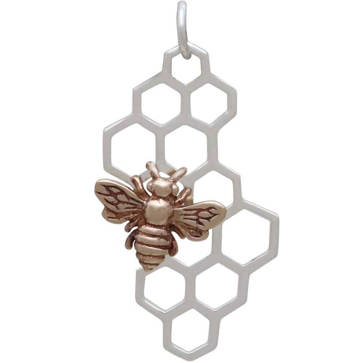 Sterling Silver Honeycomb Pendant with Bronze Bee 32x16mm