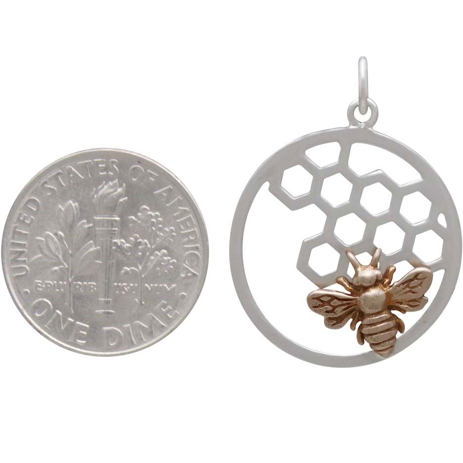 Silver Honeycomb and Bee Charm in Circle Frame 27x21mm