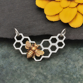 Sterling Silver Honeycomb Festoon with Bronze Bee 18x27mm