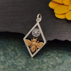 Bronze Bee Charm with Sun in Silver Diamond Frame 28x15mm