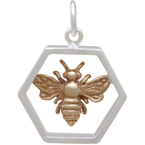 Sterling Silver Hexagon Charm with Bronze Bee 20x16mm