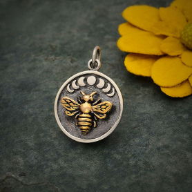 Sterling Silver Moon Phase Charm with Bronze Bee 22x16mm