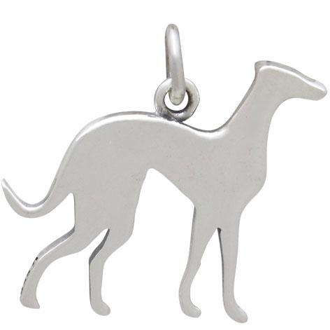 Sterling Silver Greyhound Dog Charm 19x19mm