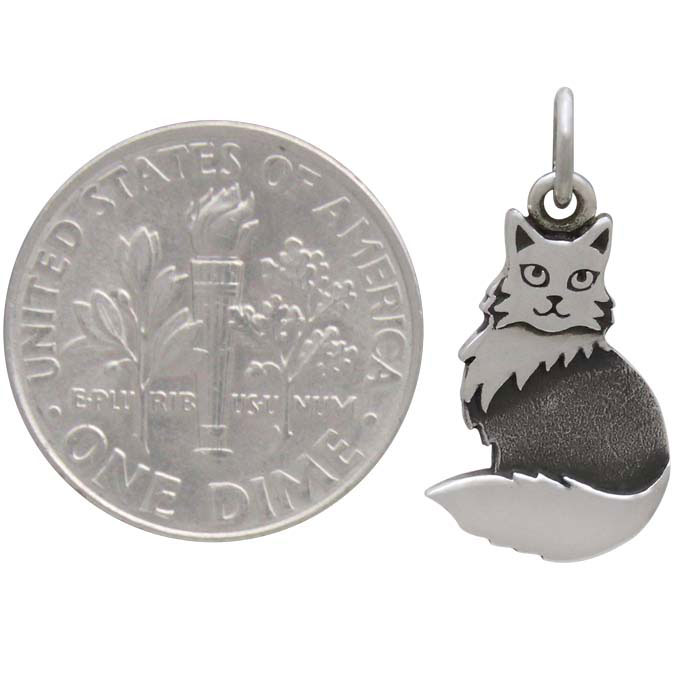 Sterling Silver Layered Fluffy Cat Charm 21x10mm