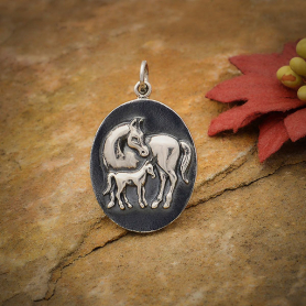 Sterling Silver Mom and Baby Horse Pendant 28x18mm