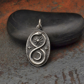 Silver Infinity Snake Pendant with Sun and Moon 26x13mm