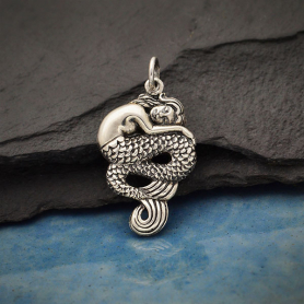 Sterling Silver Sleeping Mermaid Pendant 26x14mm