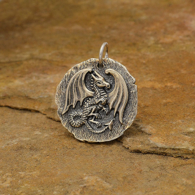 Sterling Silver Ancient Coin Charm - Dragon 24x20mm