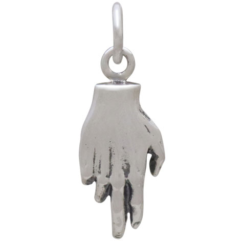 Sterling Silver Charm Hand Holding Bronze Heart 20x7mm