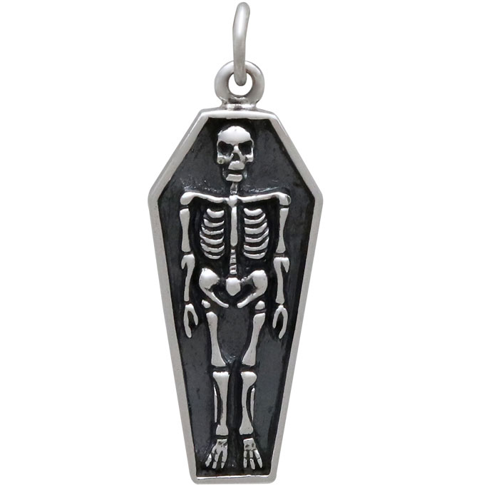 Sterling Silver Skeleton Charm in Coffin 29x10mm