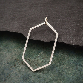 Sterling Silver Long Hexagon Link 36x19mm