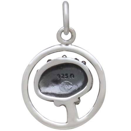 Sterling Silver Agaric Mushroom Charm in Circle 18x13mm