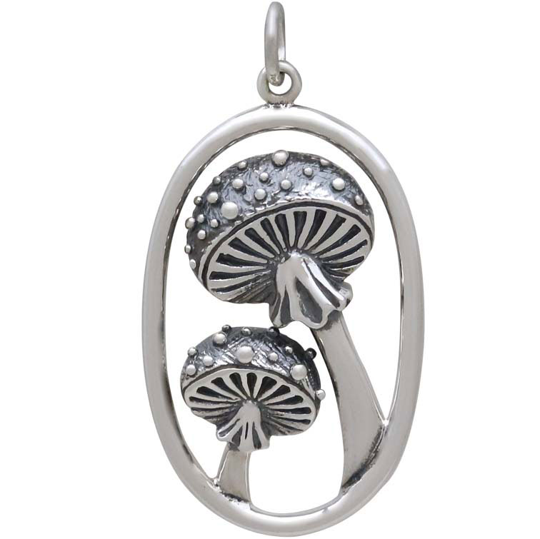 Sterling Silver Agaric Mushroom Pendant in Oval 33x17mm
